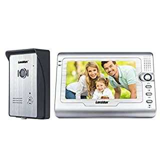 Lansidun Video Doorbell Intercom 7 inch Wired Door Phone Kit Visual Entry System with IR Night Vision Camera, Monitoring, Unlock for Home Security