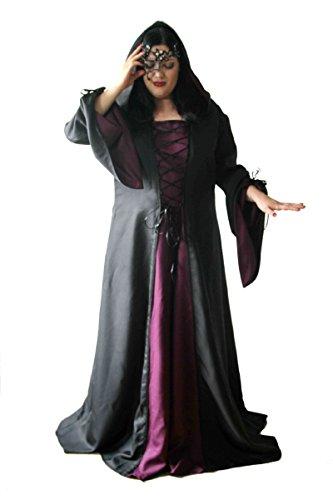 Faschingskostüm große Größen schwarz (Kleidergröße 56-60 (10XL-12XL)) sei eine Hexe, ein Gothic Girl oder doch die mittelalterliche holde (Maid Kostüme Holde)