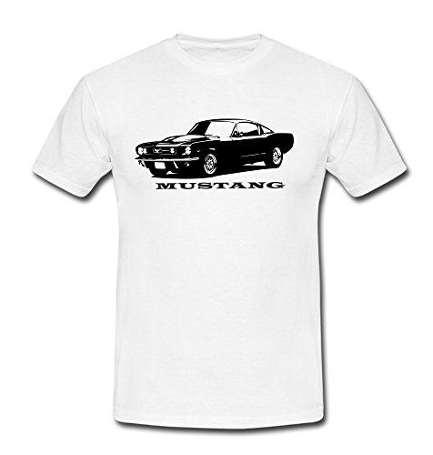 T-Shirt Mustang Motiv Muscle Car US-Car Auto Youngtimer weiß/schwarz Weiß