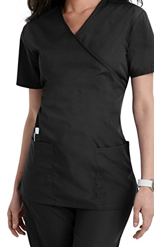 Smart Uniform Women's Scrub Modern Fit Mock Wrap Top 7502 (XL, Schwarz [Black]) (Wrap Damen Mock)