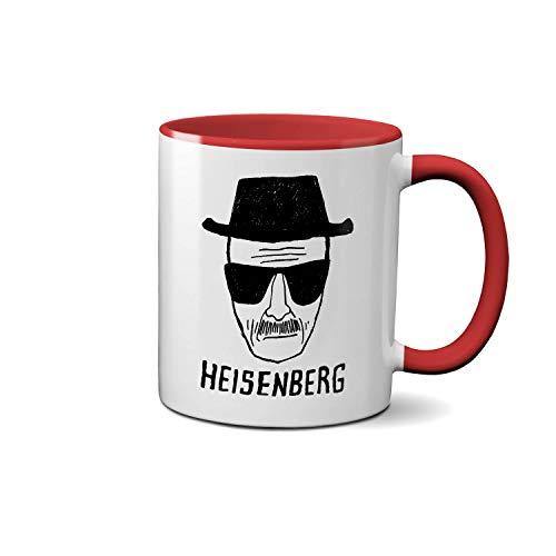 Breaking Bad Heisenberg Art Sketch Rote Innenseite und Griff Teetasse Weiße Kaffeetasse Keramik 312ml