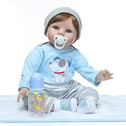 5 cm Realistische Blau Hund Augen Mund Offen Silikon Vinyl Wiedergeboren Babypuppe Gefüllte Tuch Körper Neugeborenen Puppen Kind Spielzeug ()