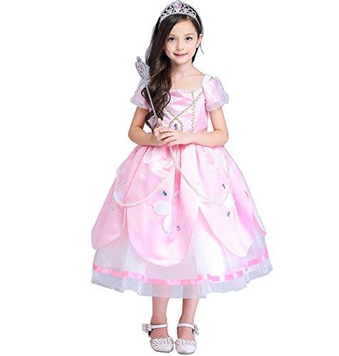 nzel Kostüm Kinder Glanz Kleid Mädchen Weihnachten Verkleidung Karneval Party Tangled Halloween Fest Rosa (Tangled Kostüm Für Kinder)