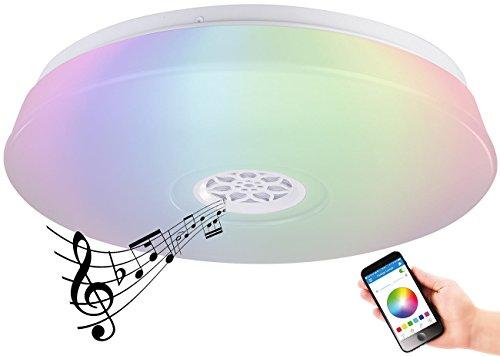 farbwechsel deckenleuchte Luminea Deckenlampe: RGBW-LED-Deckenleuchte, Lichtwecker, Lautsprecher, App, 1.500 lm, 24 W (Lampe, Bluetooth)