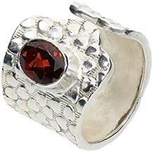 Granat (rot) Ring, Größe verstellbar, Silber 925 nickelfrei