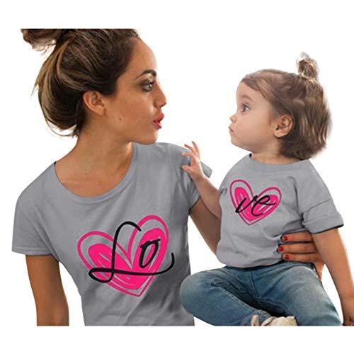 (Mutter und Tochter Kleidung Love Printed Kurzarm T-Shirts Tops Bluse, bluestercool Liebe Eltern-Kind-Kleidung Damen Casual Bedruckte kurzärmelige)