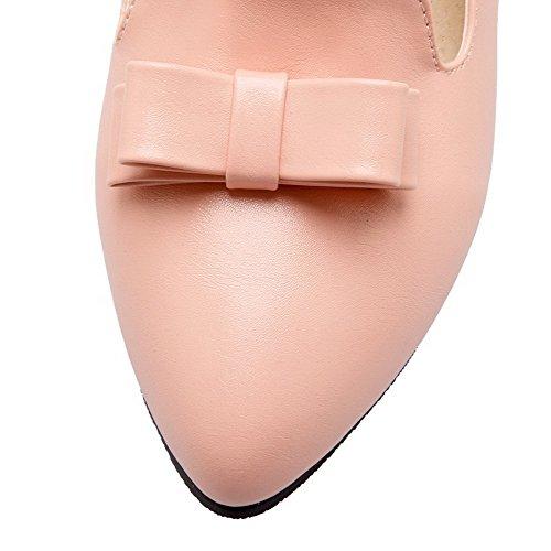 AllhqFashion Femme Pu Cuir Couleur Unie Tire Pointu à Talon Bas Chaussures Légeres Rose