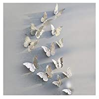 36 Pieces 3D Butterfly Stickers DIY Wall Art Sticker Bedroom Baby Nursery Decor Decals by Lisdripe (Silver)