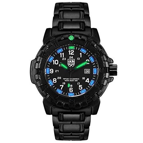 GYJUN Men Casual Uhren, Mode Sport wasserdicht Outdoor-Uhren Multifunktions-Leuchtzifferblatt mit Edelstahlband,Blue