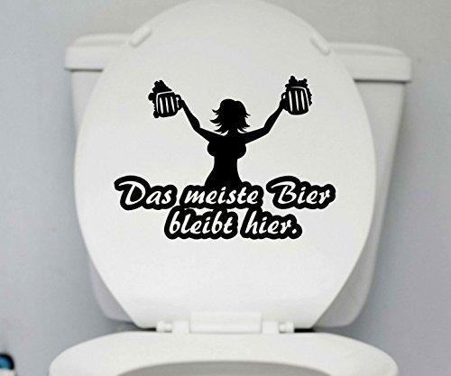 WC Deckel Aufkleber Bier bleibt Toiletten Spruch lustig Badezimmer Bad Klo 1K180