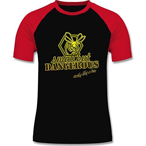 Statement Shirts - Small but dangerous Biene - zweifarbiges Baseballshirt für Männer Schwarz/Rot