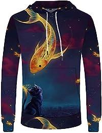 9d80aecbbf IEKYSYR Sudaderas Sudaderas con Capucha 3D Color Fish Cat Sudaderas con  Capucha Hombre gótico 3D Sudadera