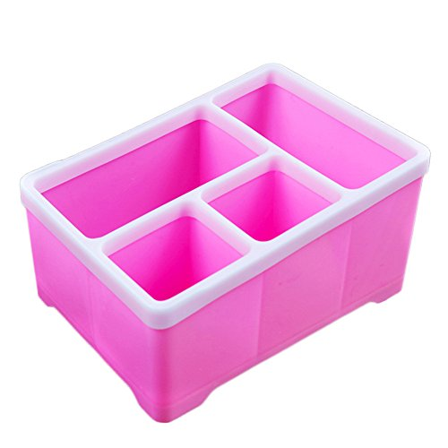 Wansan Kunststoff Aufbewahrungsbox 4 Fach Dekoration Schlafzimmer Kosmetik Multifunktionale Desktop Bleistift Papier Sammlung Korb - Rosa (Bleistift Rosa Becherhalter)