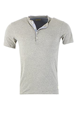 SELECTED HOMME HERREN T-SHIRT SHIRT TEE SPLIT NECK Light Grey Melange