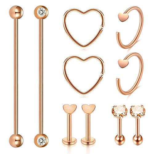 Acefun 10 pz acciaio inossidabile industriale bilanciere barretta cartilagine stud orecchini cerchio trago helix orecchio corpo piercing gioielli