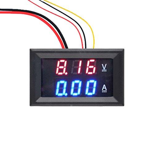 Digital Voltmeter Amperemeter DC 100V 10A Spannung aktuelle Meter Amp Dual Volt Meter Tester Gauge 0,7cm LED-adrig blau + rot LED Display (Amp 0 Gauge)