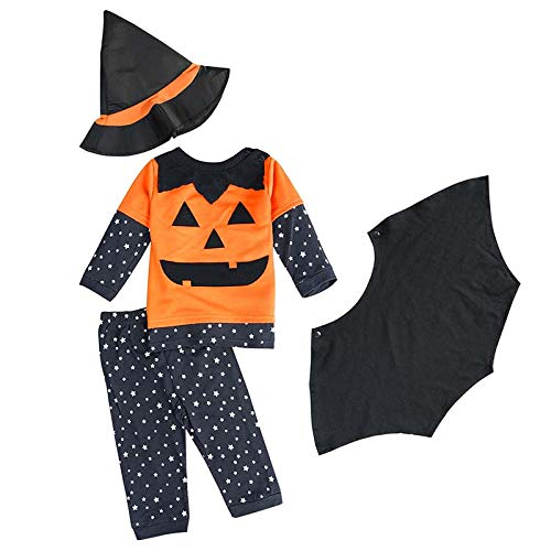 FANCYINN Baby Jungen Halloween Kürbis-Kleidung-Sets Kleinkinder Jungen Cosplay 3 Stück Kostüme mit Zaubererhut 95