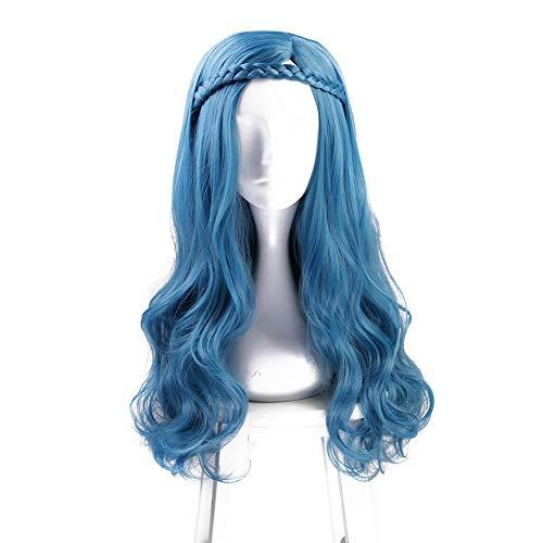 (Lang Wellig Blau Cosplay Perücke Halloween Kostüm Party Perücken Für Frauen)
