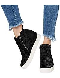 Sneakers Donna Zeppa Platform Stivaletti con Tacco Alte 5Cm Pelle Mocassini  Eleganti Scarpe da Ginnastica Estive a3c19167449
