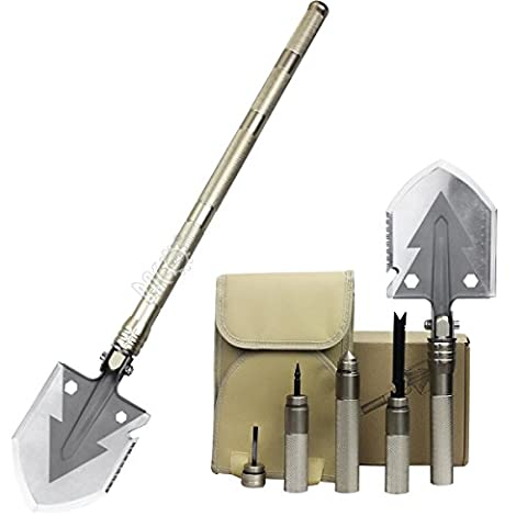 Golden Military Folding Shovel - Portable Multi-tool Tactical Entrenching Tool for Camping,Compass Backpacking Outdoor Hiking Garden Snow Heavy Duty Emergency Survival Gear Sports &