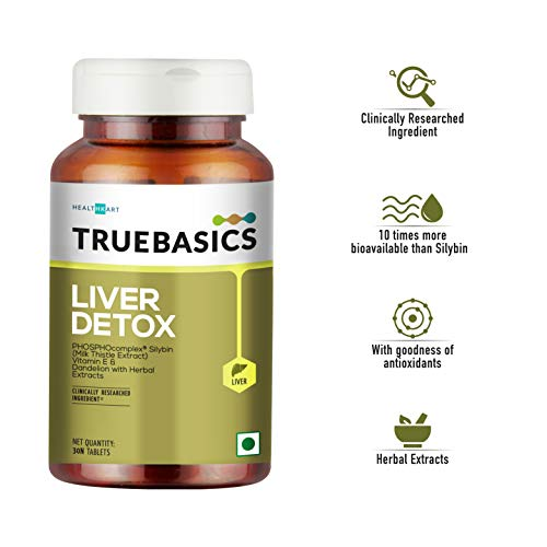 TrueBasics Liver Detox - Milk Thistle Extract (Silybin) with Dandelion & Vitamin E || Clinically Researched Ingredients|| 30 Veg Tablets