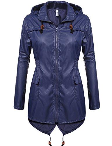 Beyove Damen Windjacke Regenjacke Regenmantel Regenparka Wassersäule - Vier Jahreszeiten (EU 40(Herstellergröße: L), Marine) Blauer Parka