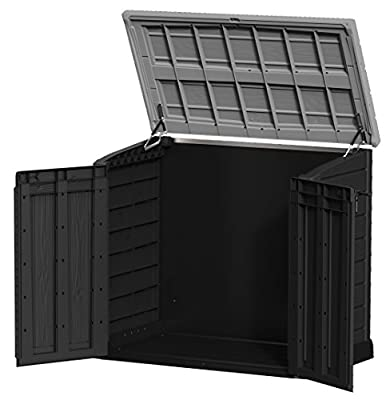 Keter 17199416 Mülltonnenbox Store it Out Max, Holzoptik, Kunststoff, für 2x 240 Liter Mülltonnen, schwarz/grau von Keter bei Du und dein Garten