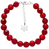 Valentina Genuine Murano Glass Red Bead Sterling Silver Bracelet of Length 19.5 cm