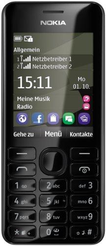 Nokia Asha 206 Dual-SIM Smartphone (6,1 cm (2,4 Zoll) Display, 1,3 Megapixel Kamera) schwarz
