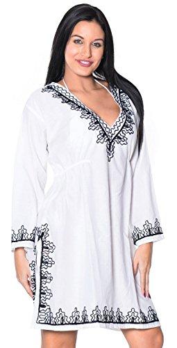 La Leela super soft rayon ricamato a mano profonda scollatura a V costumi da bagno Donna Plus Size casual 4in 1spiaggia bikini coprire tunica top loungewear Base abito caftano ☙ White ☛ UK SIZE : 12 - 14] X-Large