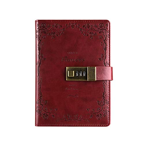 Diario in pelle PU saibang block-notes, Fashion Daily taccuino con serratura a combinazione, carte di credito, Portapenne, Dimensioni B6 diario di password per uomini e donne Wine Red