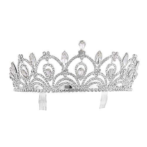 Hnks Brautkrone Geburtstags-Tiara-Kristallrhinestone-Frauen-Geburtstags-Krone mit Kamm-Partei-Zusatz-Frauen der Braut-Zusatz-Diamant Hochzeitsfeier (Color : Silver, Size : 14 * 5cm)