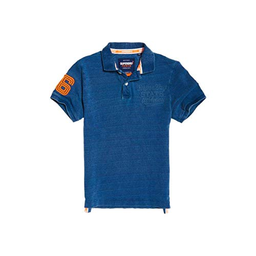 Superdry Polo Herren Classic SUPERSTATE Pique Polo Washed Indigo, Größe:M - Washed Pique Polo Shirt