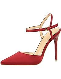 AIYOUMEI Bride Cheville Femme - Rouge - Rouge Bordeaux, 36,5 EU