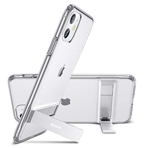"ESR Coque pour iPhone 11 Transparente, Coque Silicone avec Support Béquille Métal Multi-Angles, Protection Double Couche Multi-Fonctionnel pour iPhone 11 (2019) 6,1"" (Série Elite, Transparent)"
