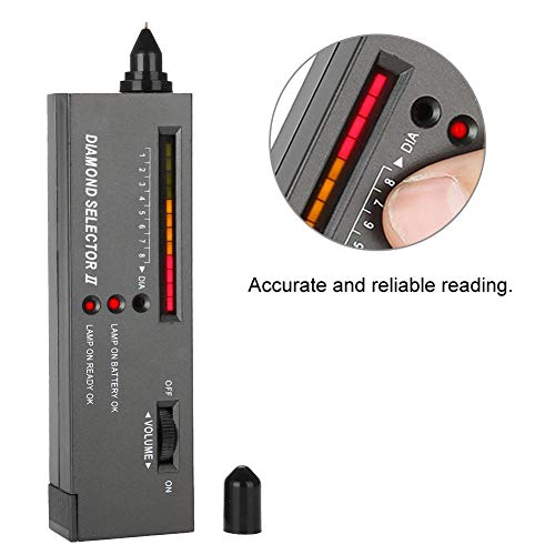 Salmue 9V LED tragbarer Audio Diamanttester, Inspektionswerkzeug für Juweliergeschäfte, Diamantdetektor, Juwelen Präzisions Edelstein Werkzeugauswahl -