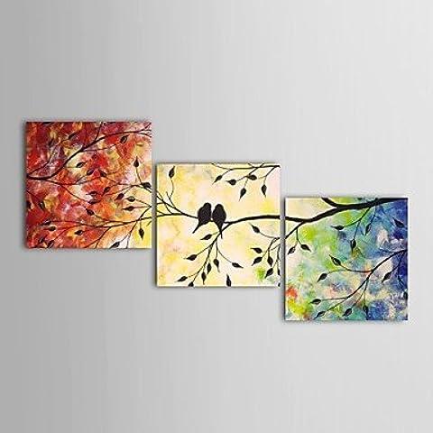 LAPS mano de pintura al óleo pintada mandarina paisaje patos pájaros de conjunto el marco de estirado de 3