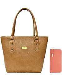 Clementine Women's Handbag And Clutch (Beige, Peach)