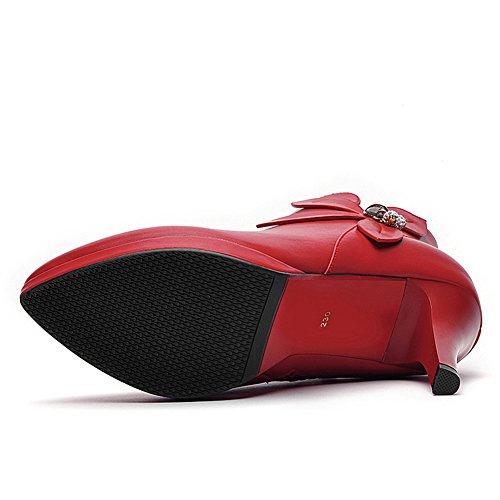 Damen Stiefeletten Spitze Stilettos Reißverschluss Schöne Pumps Rot