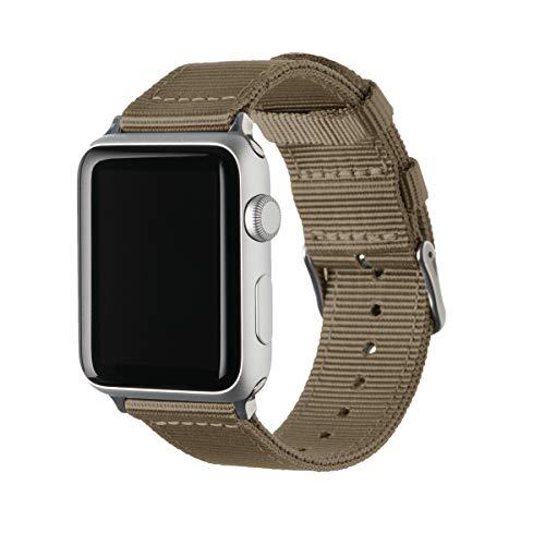 Archer Watch Straps Nylon Uhrenarmband für Apple Watch - Khaki/Edelstahl, 42/44mm -