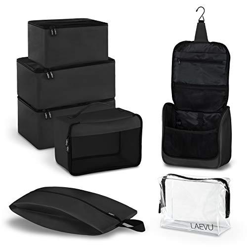 LAEVU LAEVU Packing Cubes - 5 Packtaschen Plus 2 Kosmetiktaschen - 7-Teiliges Set - Schwarz