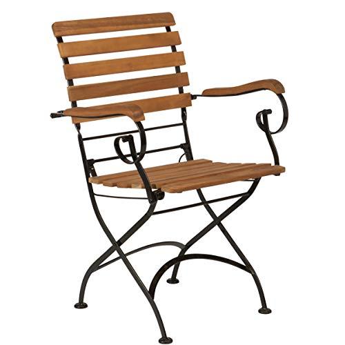 BUTLERS Parklife Gartenstuhl aus Holz 47x54x88 cm – Stuhl klappbar aus FSC-Akazienholz und Metall verzinkt für Balkon oder Garten