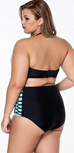 CHENGYANG Femme Halter Bikini Grande Taille Push Up Maillot de bain Bandeau Haute Taille Bathing Suit Vert