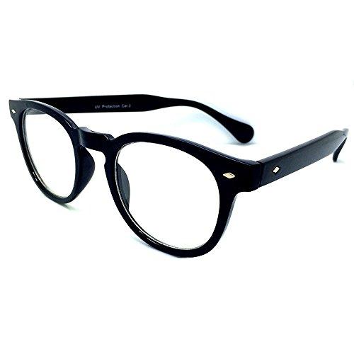 Preisvergleich Produktbild Neutrale Gläser KISS® - MOSCOT Stil inspiriert Johnny Depp - Brillen Rahmen Retro-Mann Frau unisex - SCHWARZ
