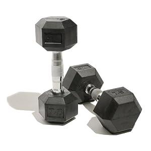 Bodymax Paire d'haltères hexagonaux en caoutchouc–10kg
