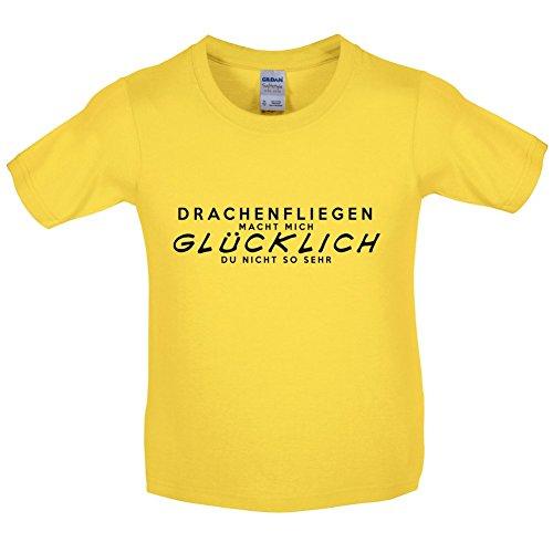 Drachenfliegen macht mich glücklich - Kinder T-Shirt - Gänseblümchen-Gelb - S (5-6 ()