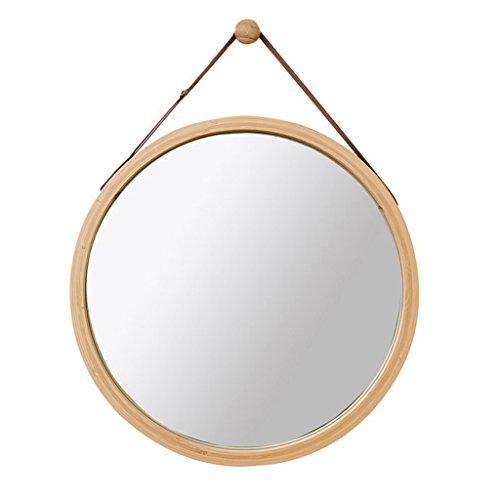 Espejo Redondo de Pared Espejo de baño Espejo de tocador Espejo de baño Espejo Decorativo de Madera...
