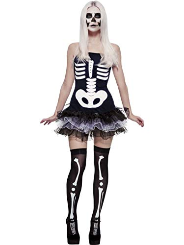 (Luxuspiraten - Damen Frauen Kostüm Kurzes Skelett Tütü Kleid im Röntgen Knochen Stil, Lady Skeleton Tutu Dress with X-Ray Bones, perfekt für Halloween Karneval und Fasching, M, Schwarz)