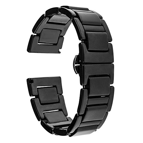 TRUMiRR 20mm Vollständige Keramik Uhrenarmband Schmetterling Buckle Strap für Samsung Gear S2 Classic (SM-R732 / R735),Huawei Uhr 2 (Sport), Moto 360 2 42mm Herren, Pebble Time Runde 20mm, Bradley Uhren, Garmin Vivomove, Withings Steel HR 40mm, Fossil Q Gazer, Ticwatch 2, 40mm Daniel Wellington
