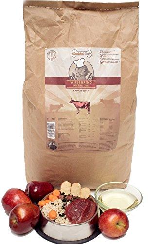 Gesundes premium Hundefutter mit hohem Fleischanteil für mehr Vitalität I Hundekochprofi Wiesenrind kaltgepresstes Trockenfutter für Hunde 15kg I Tierbedarf Hundenahrung Alleinfutter Hundebedarf (15 Kg)